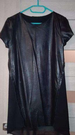 Sukienka czarna z elementami skóry rozm. M unikatowa