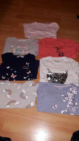 Bluzeczki 7sztuk dlugi rekaw reserved h&m 110