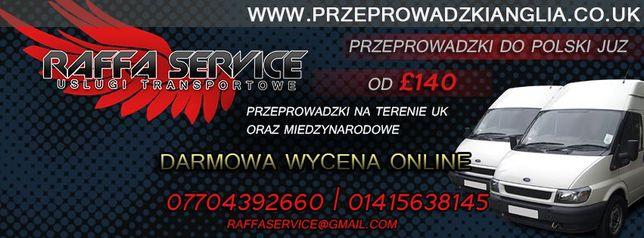 Przeprowadzki Anglia-Polska-Anglia od 140 Funtow ! Cala UK-PL