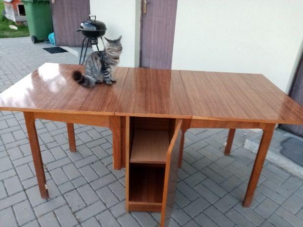 stół rozkładany PRL na wysoki połysk