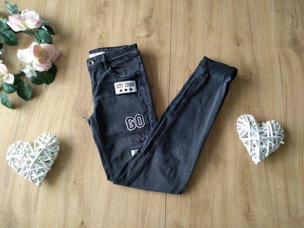 Bershka modne jeansy z łatami 32 XXS 158 164 rurki dla nastolatki 170