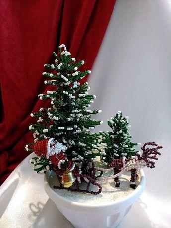 Деревья из бисера, Дед Мороз на санях