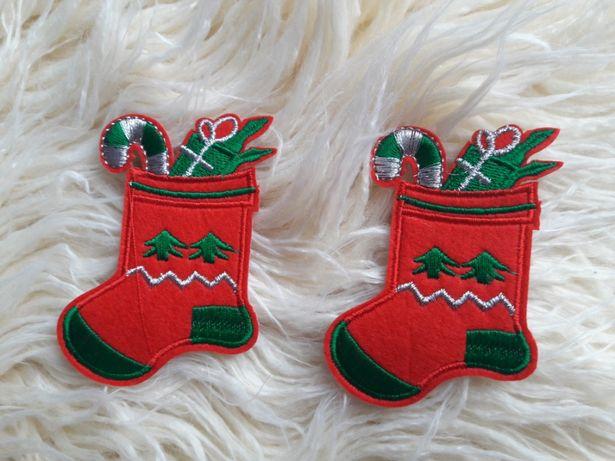 Naprasowanka świąteczna skarpeta 10szt girlanda szycie