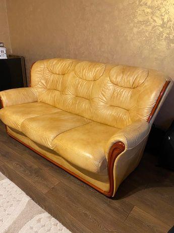 Komplet wypoczynkowy skórzany, sofa i dwa fotele