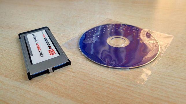 Placa Express Card 34 mm USB 3.0 com hub 2 portas para portátil