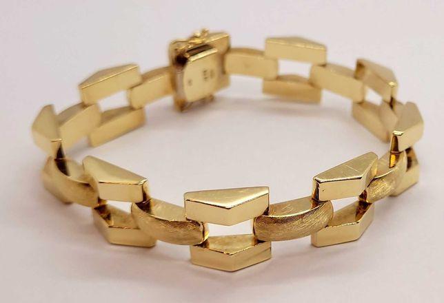 Złota dmuchana bransoletka 26.50g p.585 19cm szer 13mm /LIDER