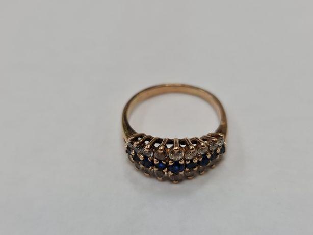 Klasyczny złoty pierścionek damski/ 585/ 3.34 gram/ R14/ Cyrkonie