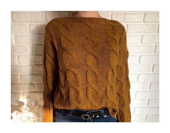 Szarobrązowy pleciony oversizowy sweter. Sweter oversize XS S M L XL