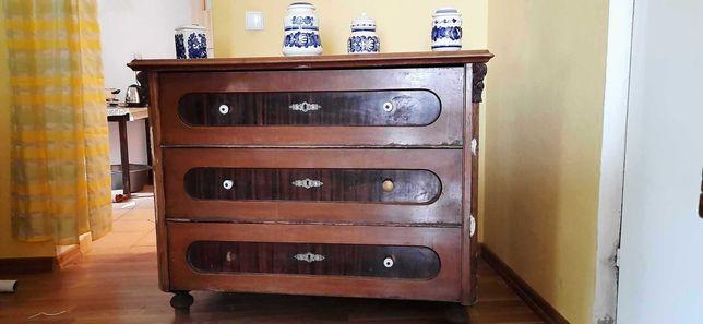 Komoda z trzema szufladami lite drewno do renowacji