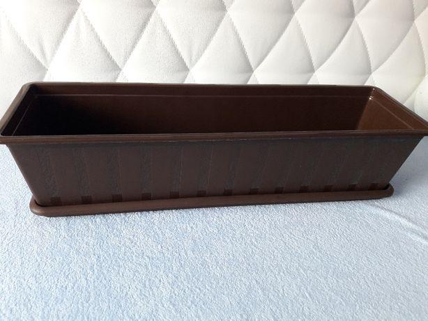 Skrzynki balkonowe + Podstawki Prosperplast 60 cm brąz, sztuk 5