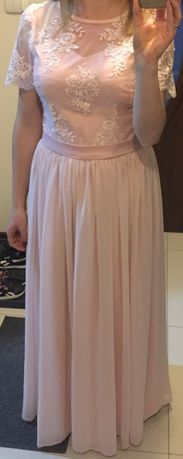 suknia_sukienka_maxi_r.36_róż koronka