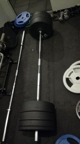 Gryf olimpijski 20 kg 220 cm + 100kg bumperów obciążenie + zaciski