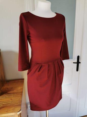 Bordowa sukienka rozm. z metki 38 (bardziej na 36)