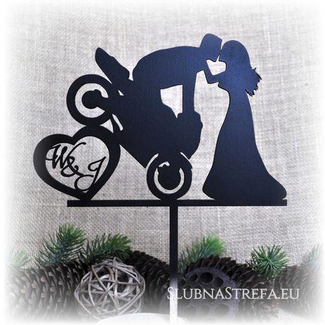topper na tort topper motor motocykl ślub wesele