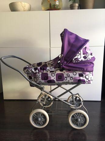 Wózek dla lalek głęboki składany, gondola, duży z amortyzacją, pościel
