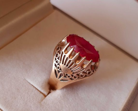 Cudowny pierścionek sygnet złoto 583.duzy Rubin.rozmiar 21