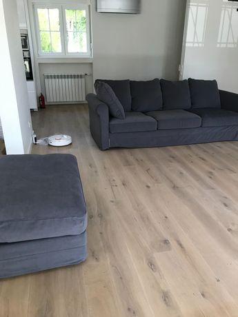 Sofá de 3/4 lugares em bom estado e inclui repousa pés