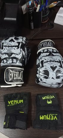 Перчатки для Кик-боксинга,бокса +шлем и защита для рук