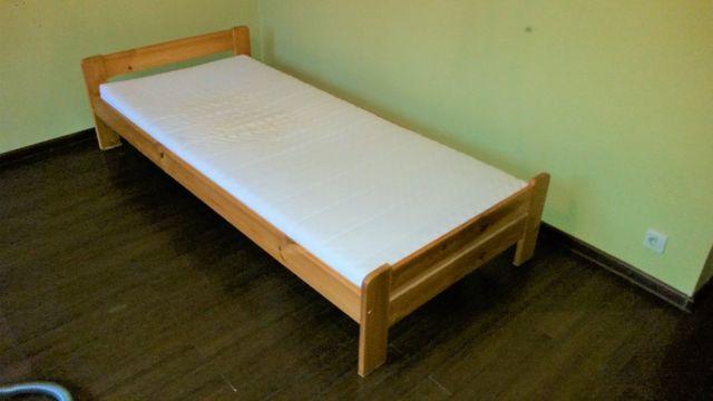 Łóżko drewniane sosnowe 90x200 + materac Moshult