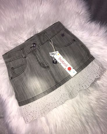 Новая серая джинсовая юбка Boboli на девочку 8 лет, 128 см
