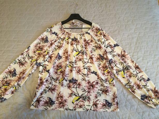 Bluzeczka H&M rozm S jak nowa wzorki ptaszki kwiaty