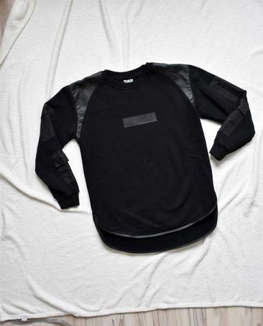 Czarna bluza black hoodie Lifestab z skórzanymi wstawkami M/L