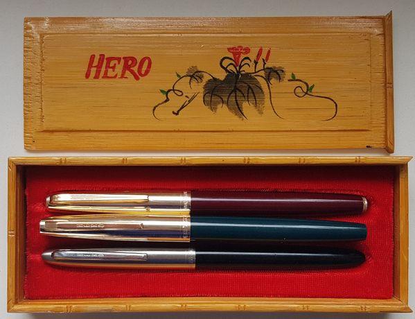 Pióra wieczne Hero 329 Wing Sung 331 stalówki kasetka rarytas PRL
