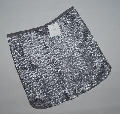 NAF NAF L/XL nowa cekiny spódnica silver srebrna