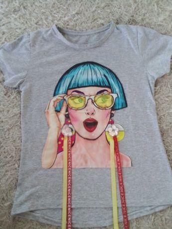 Śliczny szary modny t-shirt 146-152