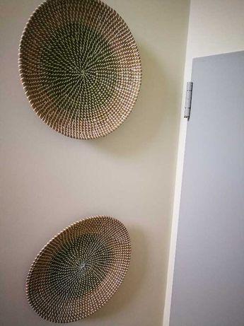 Pratos decorativos de parede de palha (preço de 2 unidades)
