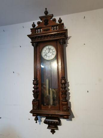 Zegar linkowy wagowy naścienny brąz drewno piękny