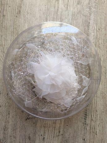 Stroik ślubny na włosy Kristin NOWY toczek woalka ślubna biały biała