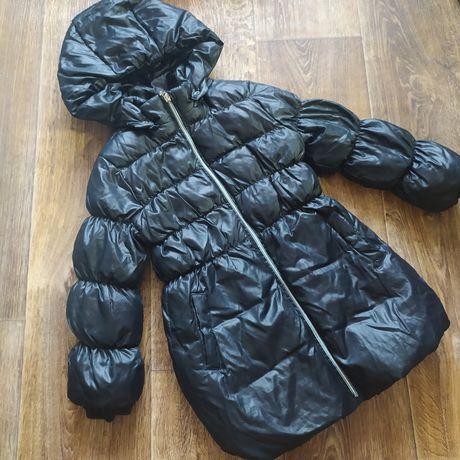 Зимний чёрный пуховик chicco для девочки 6 лет, 116 см.