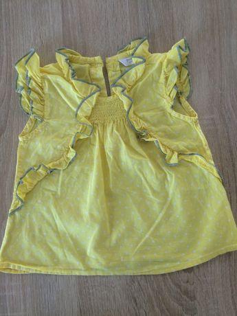 Bluzeczka żółta w białe kropeczki z falbankami r.74