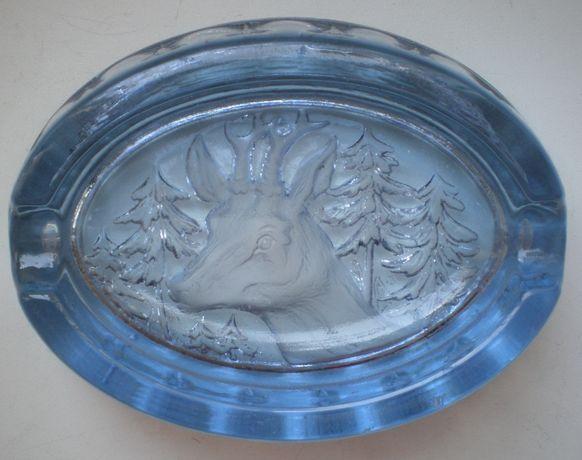 Пепельница Лось, голубое стекло, СССР