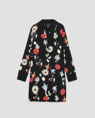 Sukienka Zara mini, czarna, kwiaty, kołnierzyk, długi rękaw XS-34 NOWA