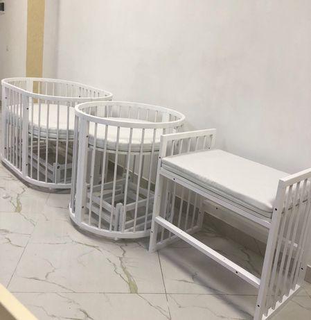 Дитяче ліжечко, овальная кроватка, ліжечко трансформер 8в1, круглая