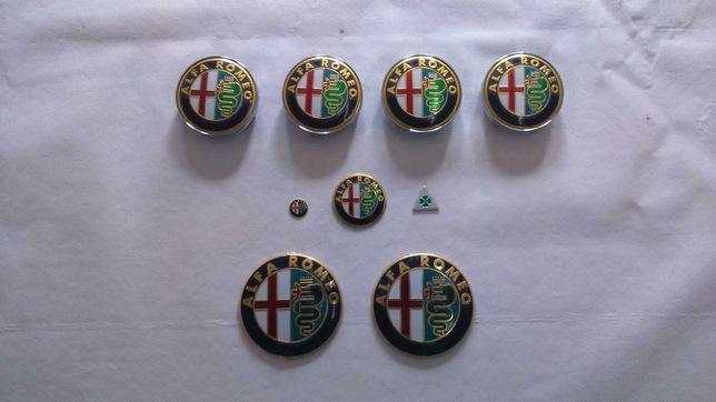 Conjuntos kits de 9 emblemas/símbolos e centros de jante Alfa Romeo