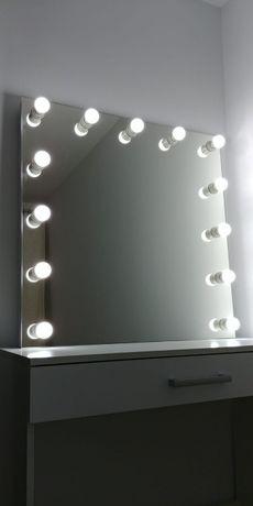 Lustro 80x80 glamour do makijażu wizażu led toaletka z żarowkami