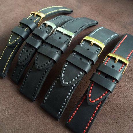 Ремешок для часов кожаный черный мужской, женский любой размер