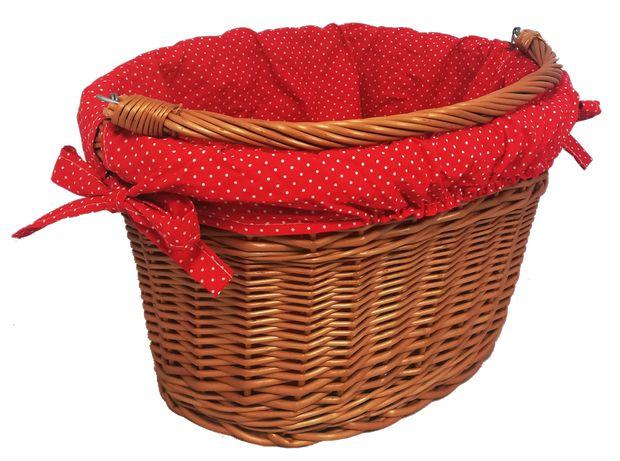 Kosz rowerowy, kosz na rower z wikliny z obszyciem czerwonym (40 cm)