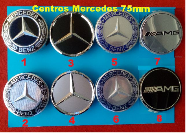 4 Centros jante Logótipo Mercedes Benz 75mm ou 60mm encaixe tampas AMG
