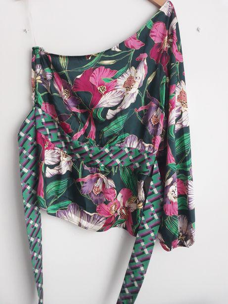 Bluzka na jedno ramię kwiaty RESERVED XL
