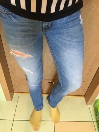 Spodnie jeansy s 36 z dziurami Sinsay rurki modne przetarcia