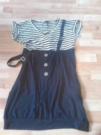 Sukienka jeans spódnica mini plisowana w pasy atmosphere szelki