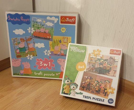 Puzzle Trefliki 2w1 + Świnka Peppa 3w1