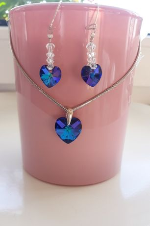 Biżuteria kryształki Swarovskiego, kolczyki i zawieszka, serduszka