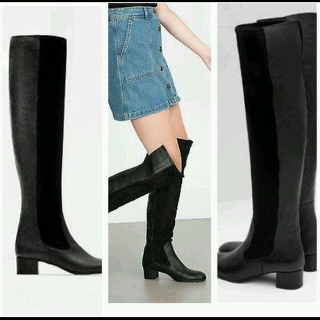 Zara czarne skórzane buty za kolano oficerki 39