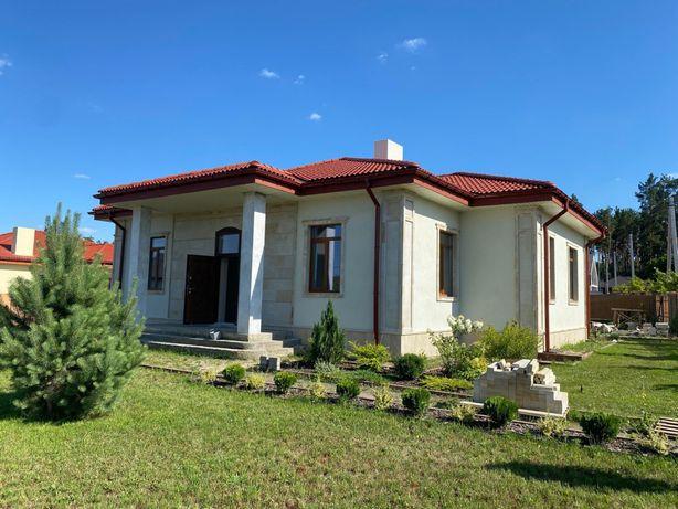 Одноэтажный дом на 12 сотках с фасадом из НАТУРАЛЬНОГО КАМНЯ!