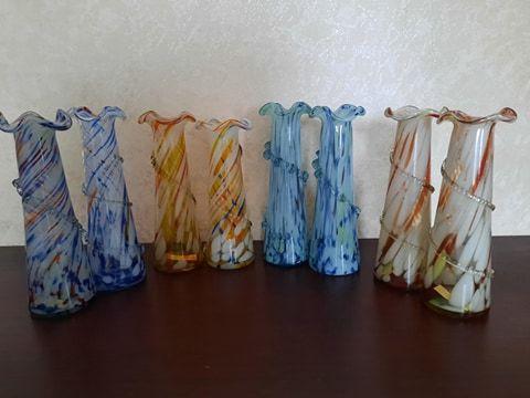 Ваза из цветного стекла.Советские вазочки.Изделия ссср